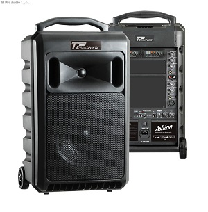 Back and front view of the Ashton Transporta portable PA