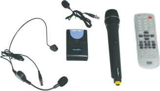 Comes standard with basic headset, wireless beltpack transmitter, wireless handheld mic and remote control